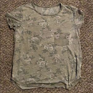 Army green flower cropped top